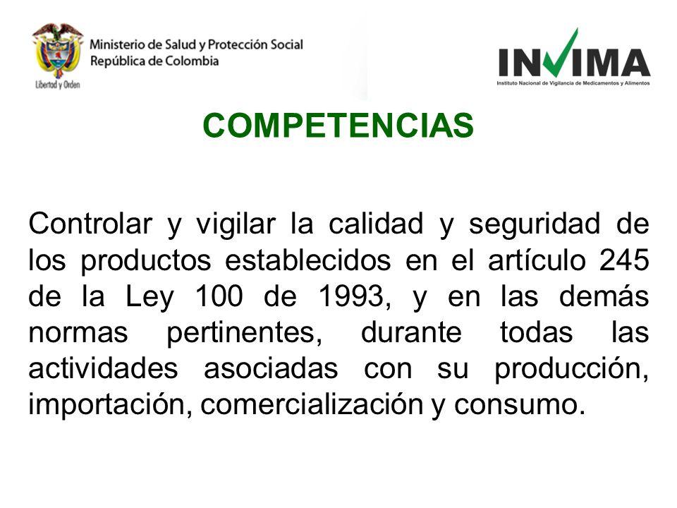 Controlar y vigilar la calidad y seguridad de los productos establecidos en el artículo 245 de la Ley 100 de 1993, y en las demás normas pertinentes,