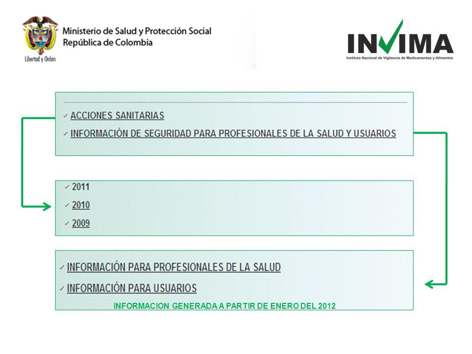 INFORMACION GENERADA A PARTIR DE ENERO DEL 2012