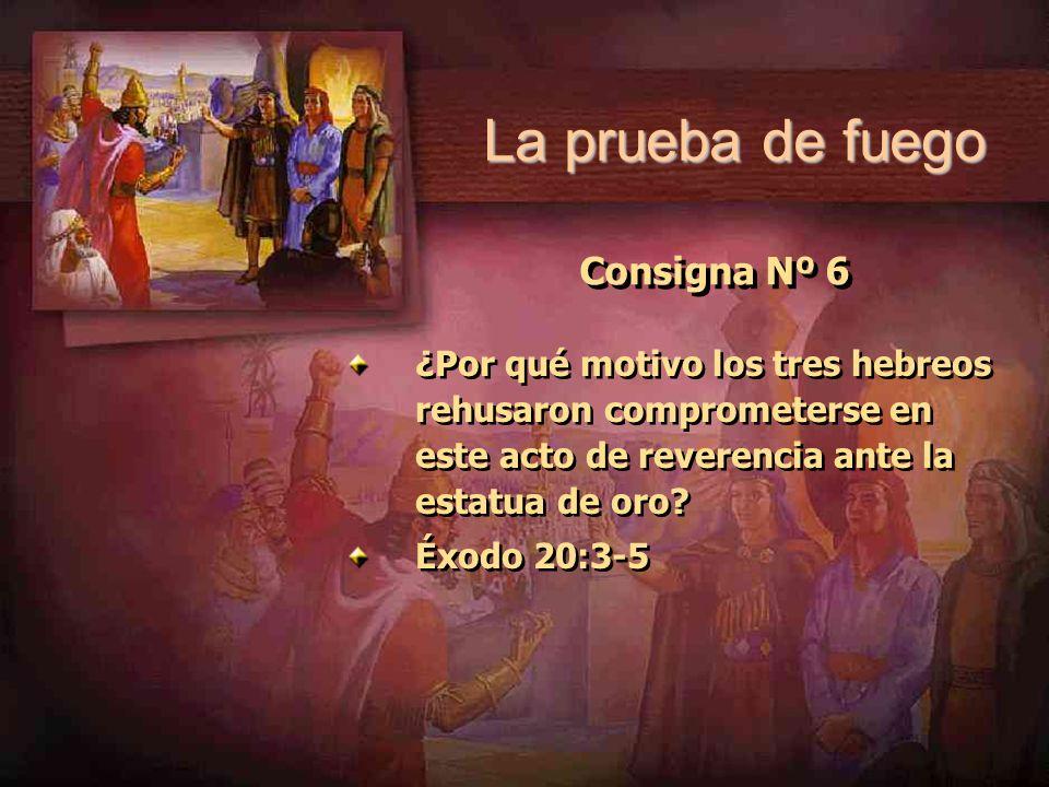 Consigna Nº 6 ¿Por qué motivo los tres hebreos rehusaron comprometerse en este acto de reverencia ante la estatua de oro? Éxodo 20:3-5 ¿Por qué motivo