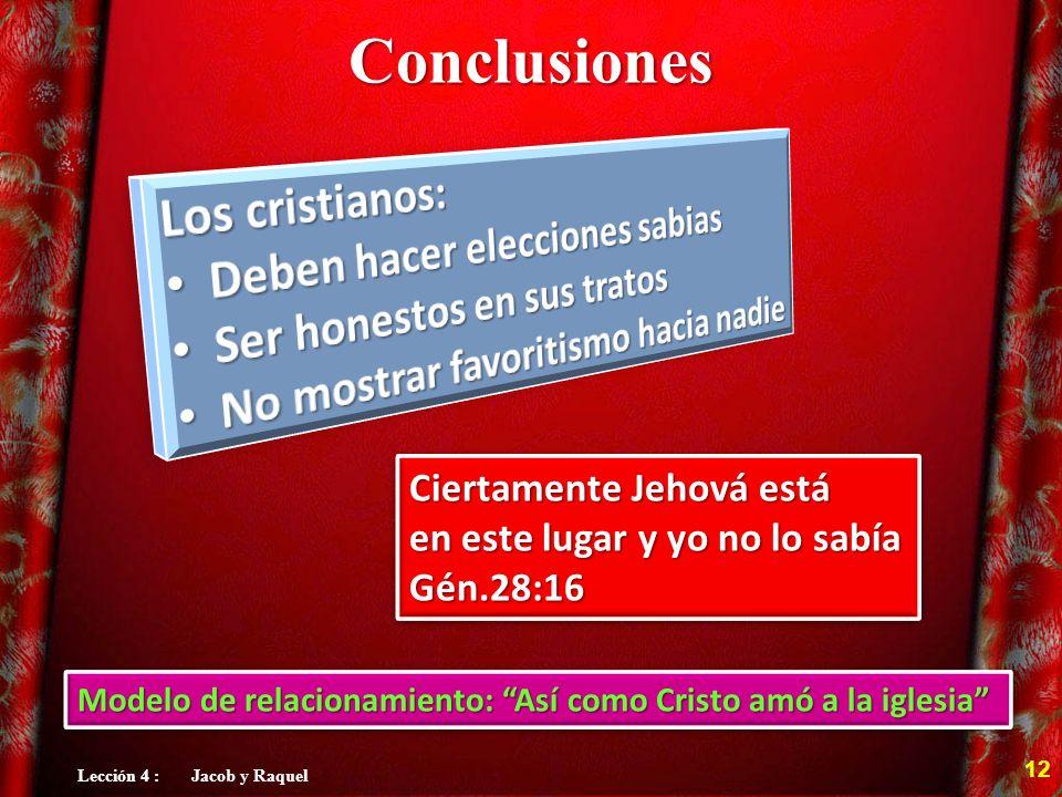 Conclusiones Ciertamente Jehová está en este lugar y yo no lo sabía Gén.28:16 Ciertamente Jehová está en este lugar y yo no lo sabía Gén.28:16 12 Lecc