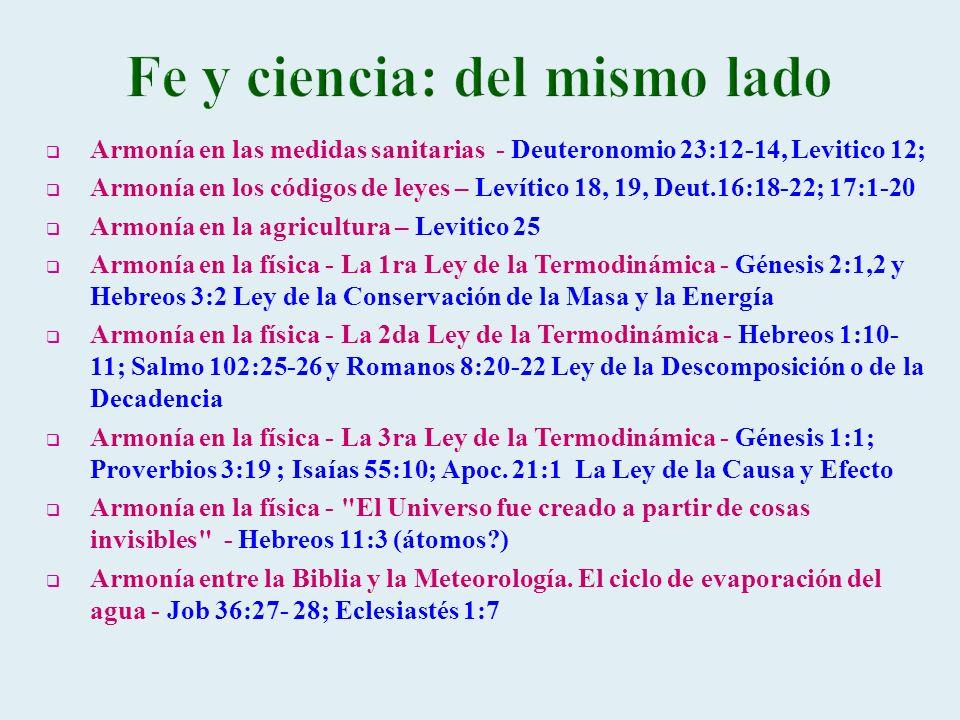 Armonía en las medidas sanitarias - Deuteronomio 23:12-14, Levitico 12; Armonía en los códigos de leyes – Levítico 18, 19, Deut.16:18-22; 17:1-20 Armo