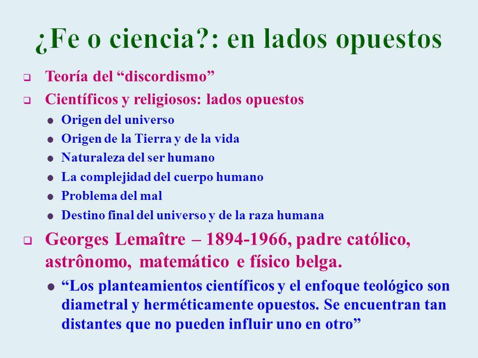 Teoría del discordismo Científicos y religiosos: lados opuestos Origen del universo Origen de la Tierra y de la vida Naturaleza del ser humano La comp