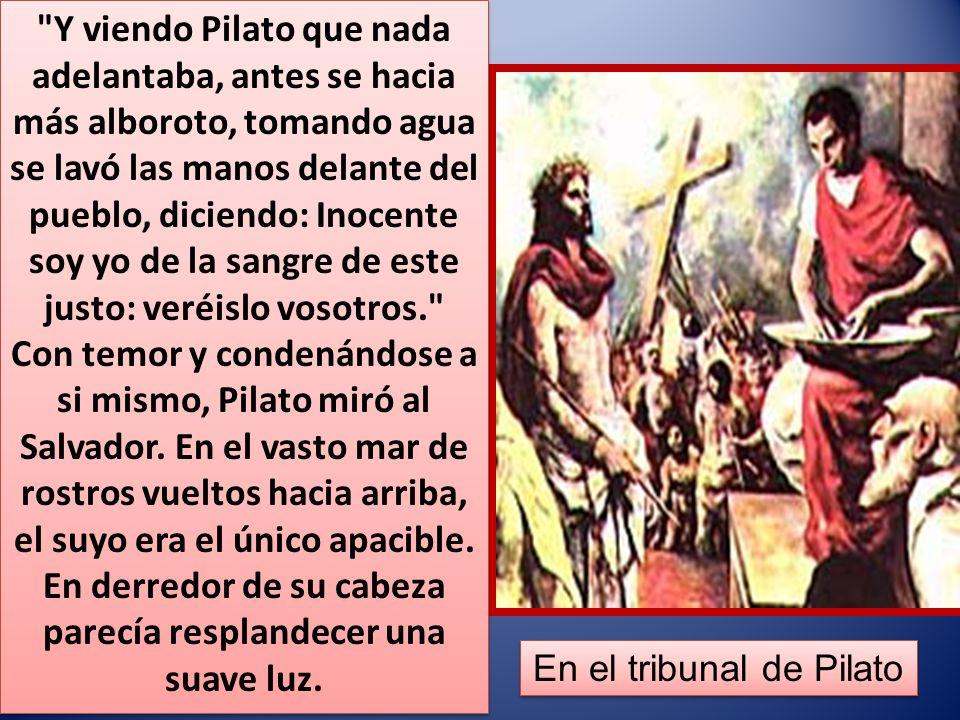 Y viendo Pilato que nada adelantaba, antes se hacia más alboroto, tomando agua se lavó las manos delante del pueblo, diciendo: Inocente soy yo de la sangre de este justo: veréislo vosotros. Con temor y condenándose a si mismo, Pilato miró al Salvador.