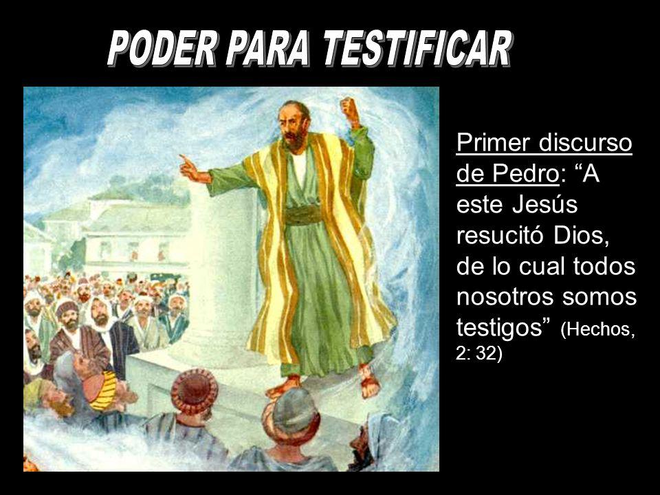 Primer discurso de Pedro: A este Jesús resucitó Dios, de lo cual todos nosotros somos testigos (Hechos, 2: 32)