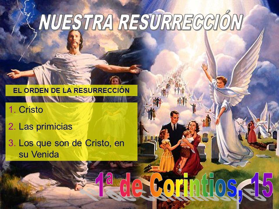 EL ORDEN DE LA RESURRECCIÓN 1.Cristo 2.Las primicias 3.Los que son de Cristo, en su Venida