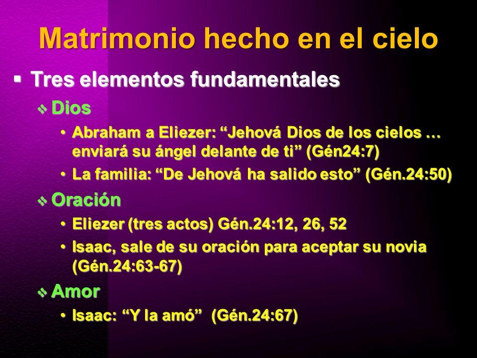 Matrimonio hecho en el cielo Tres elementos fundamentales Tres elementos fundamentales Dios Dios Abraham a Eliezer: Jehová Dios de los cielos … enviar