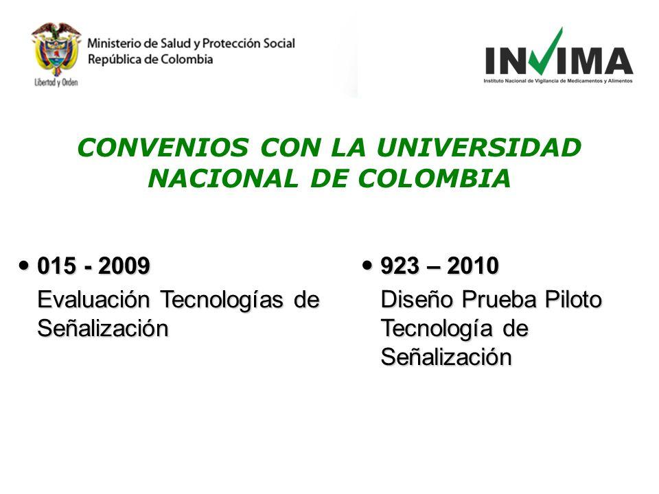 015 - 2009 015 - 2009 Evaluación Tecnologías de Señalización 923 – 2010 923 – 2010 Diseño Prueba Piloto Tecnología de Señalización CONVENIOS CON LA UNIVERSIDAD NACIONAL DE COLOMBIA