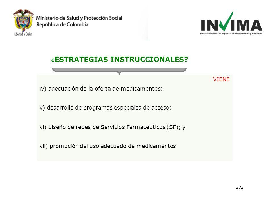 VIENE iv) adecuación de la oferta de medicamentos; v) desarrollo de programas especiales de acceso; vi) diseño de redes de Servicios Farmacéuticos (SF); y vii) promoción del uso adecuado de medicamentos.