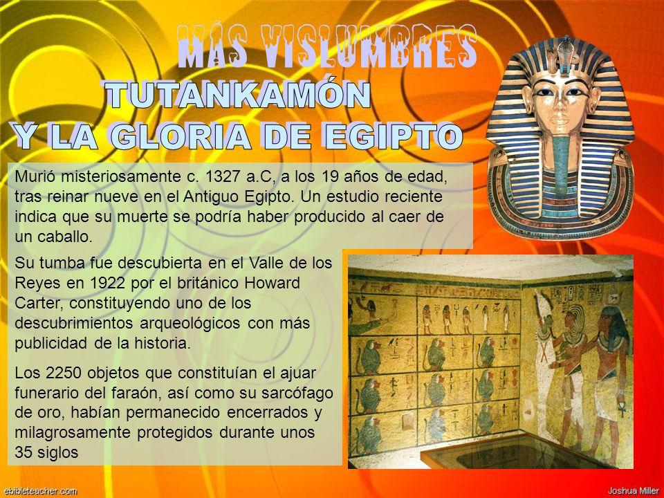 Más vislumbres Murió misteriosamente c. 1327 a.C, a los 19 años de edad, tras reinar nueve en el Antiguo Egipto. Un estudio reciente indica que su mue