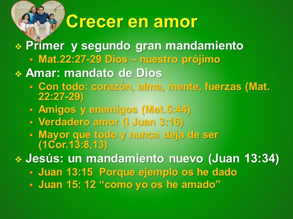 Crecer en amor Crecer en amor Primer y segundo gran mandamiento Primer y segundo gran mandamiento Mat.22:27-29 Dios – nuestro prójimo Mat.22:27-29 Dio
