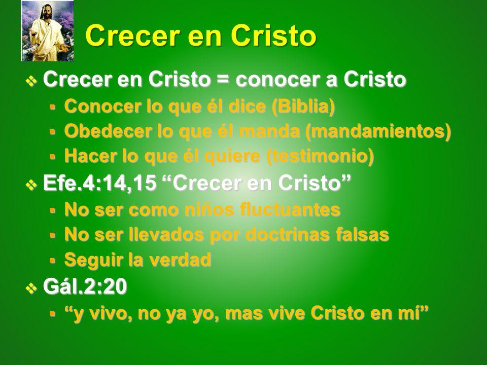 Crecer en Cristo Crecer en Cristo Crecer en Cristo = conocer a Cristo Crecer en Cristo = conocer a Cristo Conocer lo que él dice (Biblia) Conocer lo q