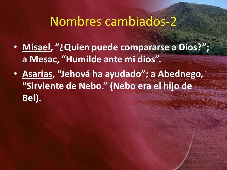 Nombres cambiados-2 Misael, ¿Quien puede compararse a Dios?; a Mesac, Humilde ante mi dios. Asarías, Jehová ha ayudado; a Abednego, Sirviente de Nebo.