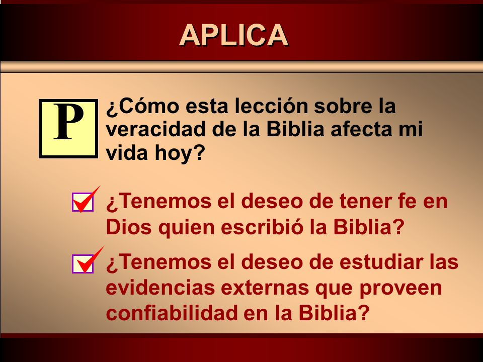 Click to edit Master text styles Second level Third level Fourth level Fifth level PLAN ¿Cómo podemos usar esta verdad acerca de la Biblia la semana que viene.