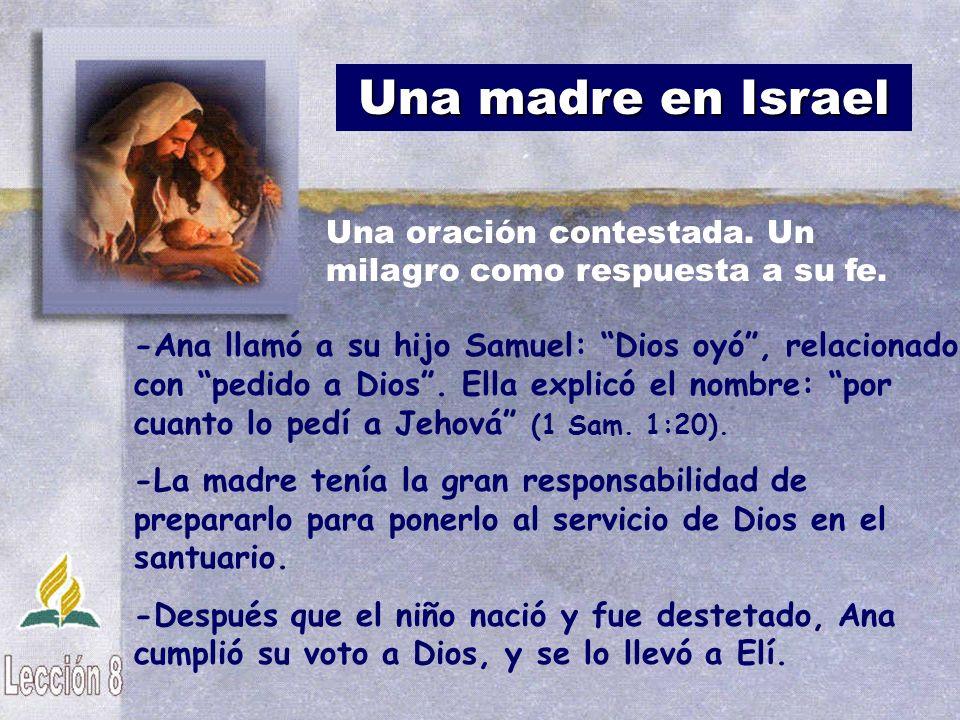 Una madre en Israel -Ana llamó a su hijo Samuel: Dios oyó, relacionado con pedido a Dios. Ella explicó el nombre: por cuanto lo pedí a Jehová (1 Sam.