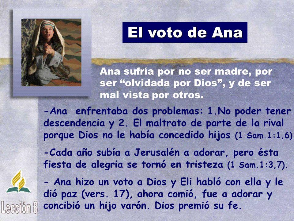 El voto de Ana -Ana enfrentaba dos problemas: 1.No poder tener descendencia y 2. El maltrato de parte de la rival porque Dios no le había concedido hi