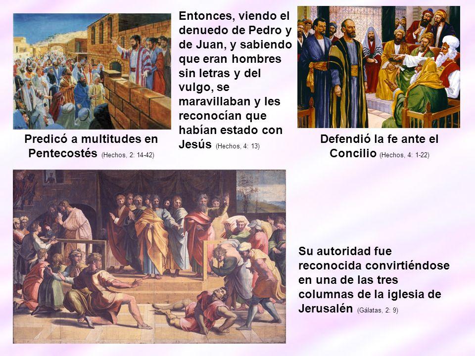 Predicó a multitudes en Pentecostés (Hechos, 2: 14-42) Defendió la fe ante el Concilio (Hechos, 4: 1-22) Entonces, viendo el denuedo de Pedro y de Jua