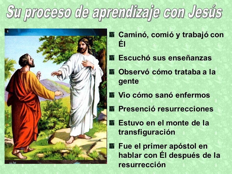 Caminó, comió y trabajó con Él Escuchó sus enseñanzas Observó cómo trataba a la gente Vio cómo sanó enfermos Presenció resurrecciones Estuvo en el mon