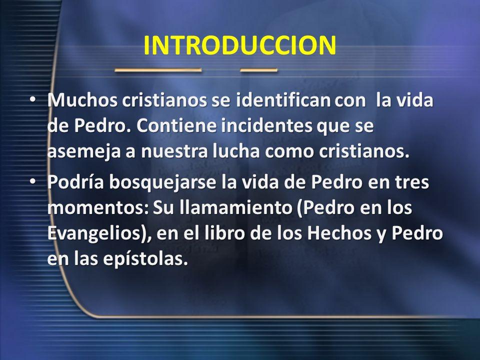 I.- LLAMAMIENTO (Pedro en los evangelios) 1.-El llamado de Pedro (Mateo 4:18-22; Marcos 1:16-20 y Lucas 5:1-11) ocurre en circunstancias laborales.