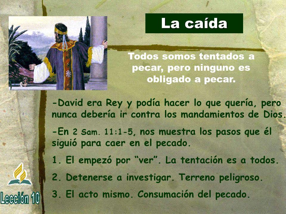 La caída -David era Rey y podía hacer lo que quería, pero nunca debería ir contra los mandamientos de Dios. -En 2 Sam. 11:1-5, nos muestra los pasos q