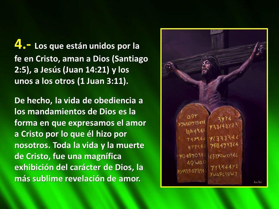 4.- Los que están unidos por la fe en Cristo, aman a Dios (Santiago 2:5), a Jesús (Juan 14:21) y los unos a los otros (1 Juan 3:11). De hecho, la vida