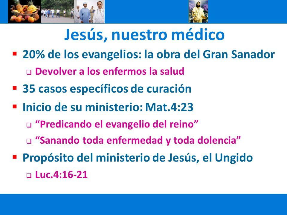 Jesús, nuestro médico 20% de los evangelios: la obra del Gran Sanador Devolver a los enfermos la salud 35 casos específicos de curación Inicio de su m