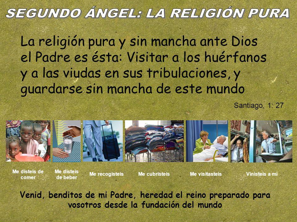 La religión pura y sin mancha ante Dios el Padre es ésta: Visitar a los huérfanos y a las viudas en sus tribulaciones, y guardarse sin mancha de este