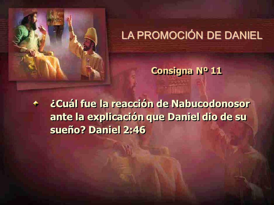 LA PROMOCIÓN DE DANIEL Consigna Nº 11 ¿Cuál fue la reacción de Nabucodonosor ante la explicación que Daniel dio de su sueño? Daniel 2:46