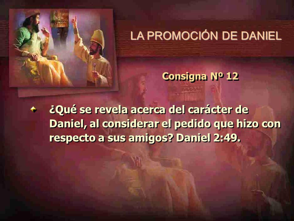 LA PROMOCIÓN DE DANIEL Consigna Nº 12 ¿Qué se revela acerca del carácter de Daniel, al considerar el pedido que hizo con respecto a sus amigos? Daniel