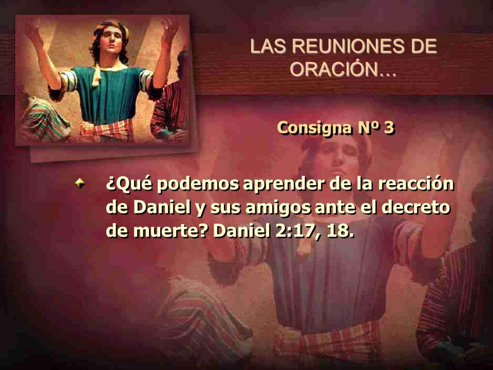 LAS REUNIONES DE ORACIÓN… Consigna Nº 3 ¿Qué podemos aprender de la reacción de Daniel y sus amigos ante el decreto de muerte? Daniel 2:17, 18.