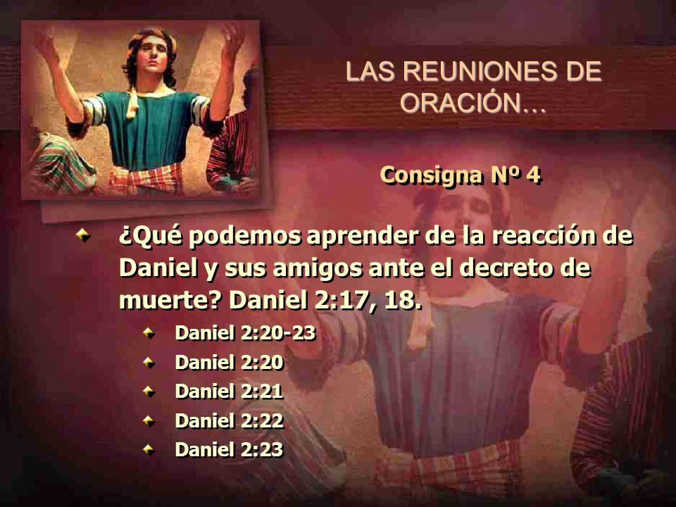 LAS REUNIONES DE ORACIÓN… Consigna Nº 4 ¿Qué podemos aprender de la reacción de Daniel y sus amigos ante el decreto de muerte? Daniel 2:17, 18. Daniel