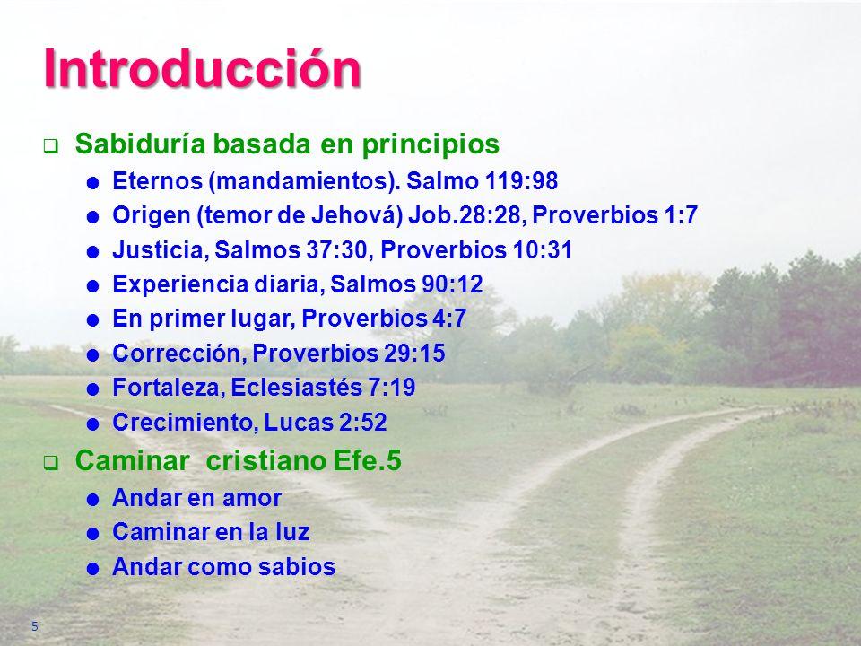 Introducción Sabiduría basada en principios Eternos (mandamientos). Salmo 119:98 Origen (temor de Jehová) Job.28:28, Proverbios 1:7 Justicia, Salmos 3