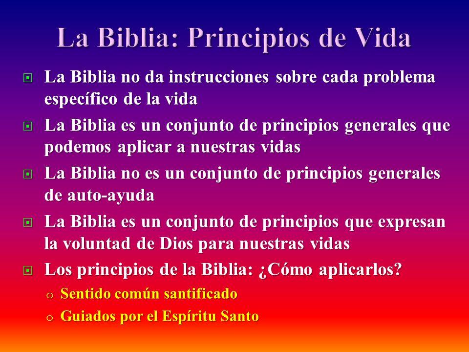 La Biblia no da instrucciones sobre cada problema específico de la vida La Biblia no da instrucciones sobre cada problema específico de la vida La Bib