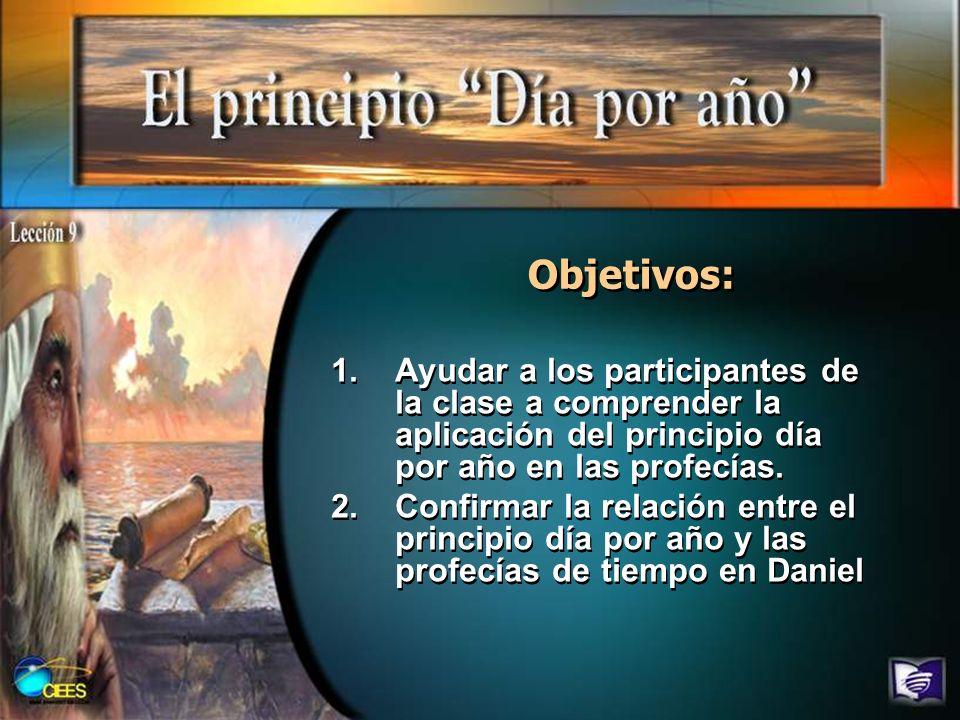 Objetivos: 1.Ayudar a los participantes de la clase a comprender la aplicación del principio día por año en las profecías. 2.Confirmar la relación ent