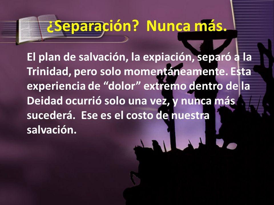 ¿Separación? Nunca más. El plan de salvación, la expiación, separó a la Trinidad, pero solo momentáneamente. Esta experiencia de dolor extremo dentro