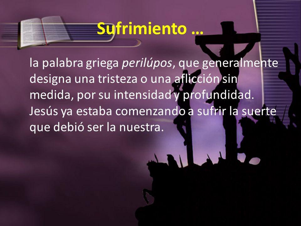 Sufrimiento … la palabra griega perilúpos, que generalmente designa una tristeza o una aflicción sin medida, por su intensidad y profundidad. Jesús ya