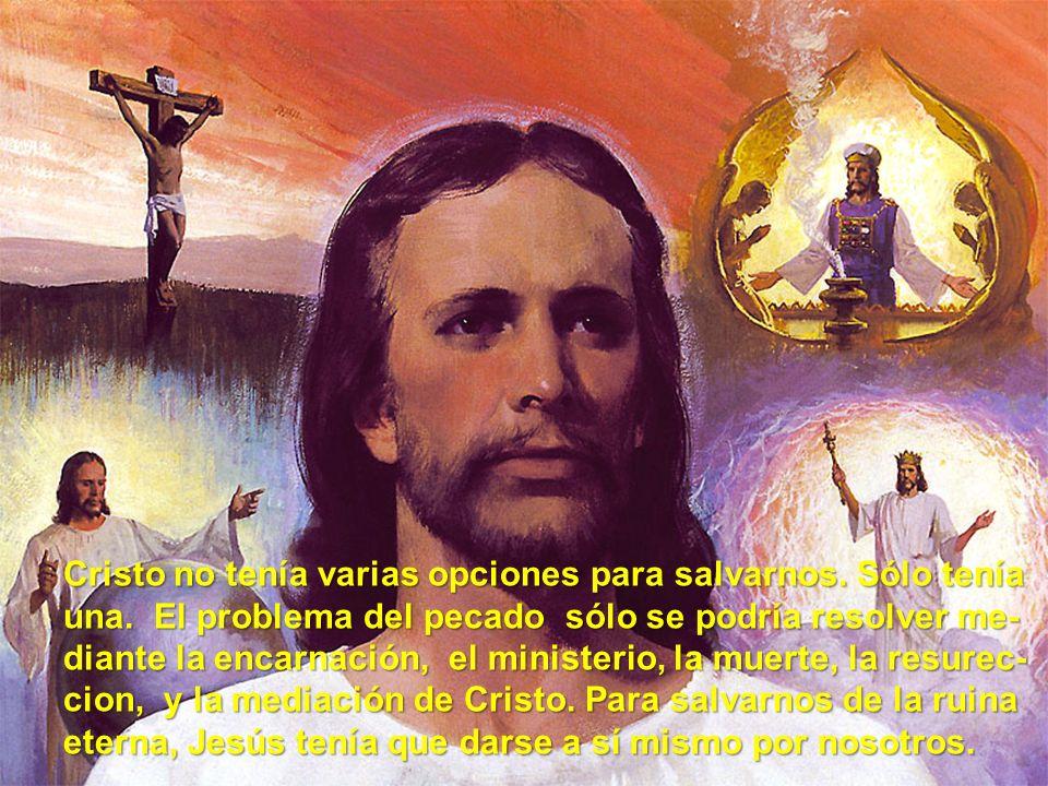Cristo no tenía varias opciones para salvarnos. Sólo tenía una. El problema del pecado sólo se podría resolver me- diante la encarnación, el ministeri