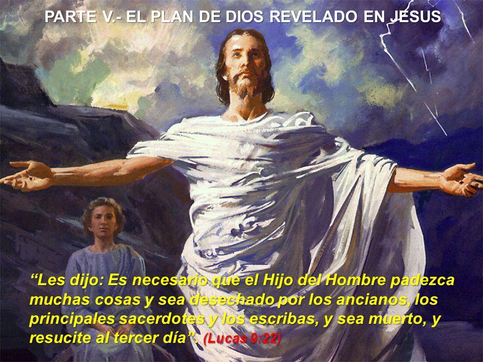 PARTE V.- EL PLAN DE DIOS REVELADO EN JESUS Les dijo: Es necesario que el Hijo del Hombre padezca muchas cosas y sea desechado por los ancianos, los p