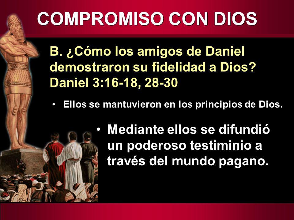 Ellos se mantuvieron en los principios de Dios. B. ¿Cómo los amigos de Daniel demostraron su fidelidad a Dios? Daniel 3:16-18, 28-30 Mediante ellos se
