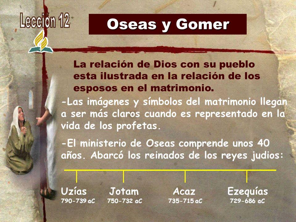 Oseas y Gomer -Las imágenes y símbolos del matrimonio llegan a ser más claros cuando es representado en la vida de los profetas. -El ministerio de Ose