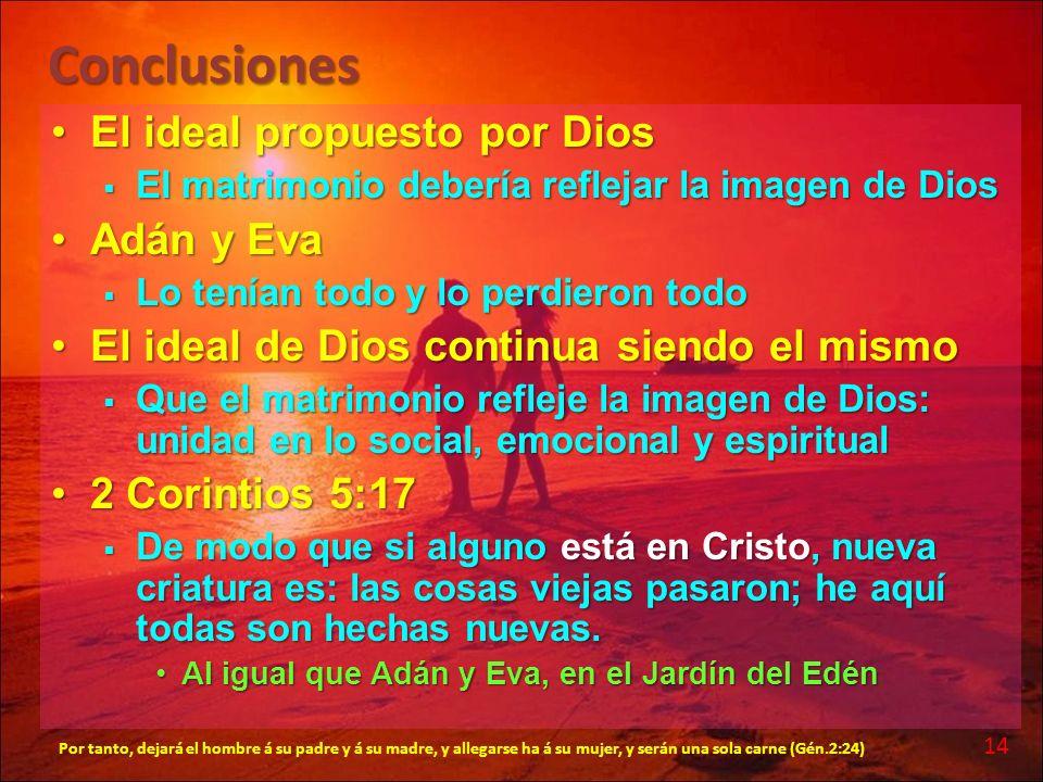 Conclusiones El ideal propuesto por DiosEl ideal propuesto por Dios El matrimonio debería reflejar la imagen de Dios El matrimonio debería reflejar la