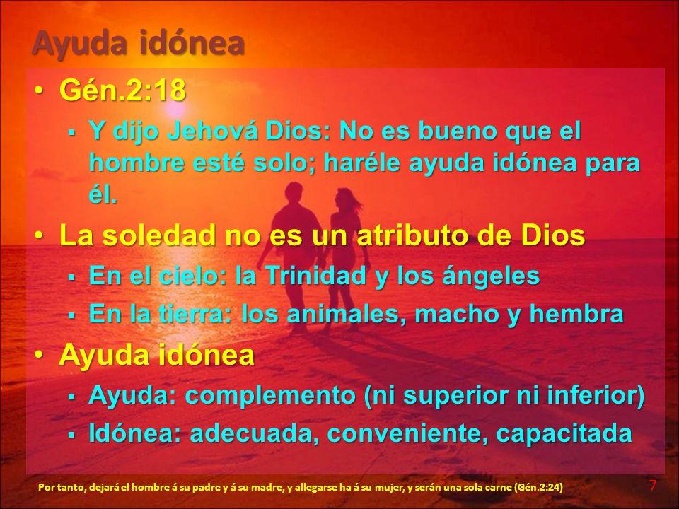 Ayuda idónea Gén.2:18Gén.2:18 Y dijo Jehová Dios: No es bueno que el hombre esté solo; haréle ayuda idónea para él. Y dijo Jehová Dios: No es bueno qu