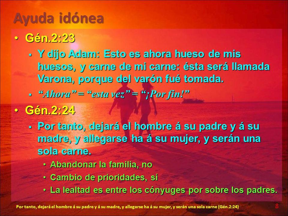 Ayuda idónea Gén.2:23Gén.2:23 Y dijo Adam: Esto es ahora hueso de mis huesos, y carne de mi carne: ésta será llamada Varona, porque del varón fué toma