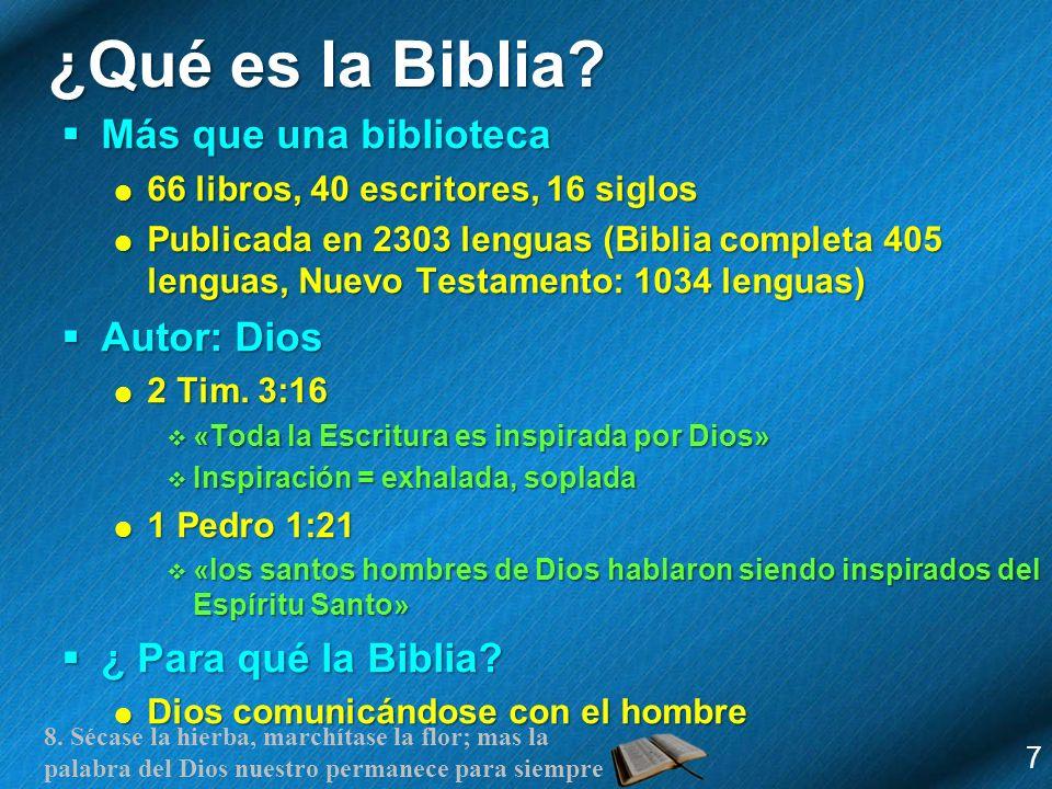 8. Sécase la hierba, marchítase la flor; mas la palabra del Dios nuestro permanece para siempre ¿Qué es la Biblia? Más que una biblioteca Más que una