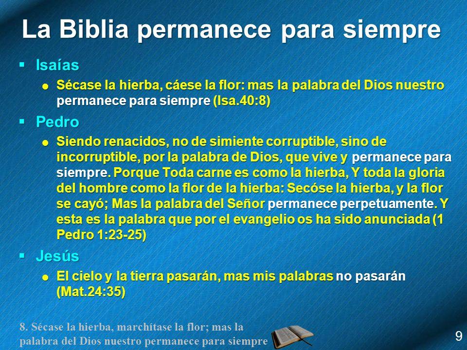 8. Sécase la hierba, marchítase la flor; mas la palabra del Dios nuestro permanece para siempre La Biblia permanece para siempre Isaías Isaías Sécase