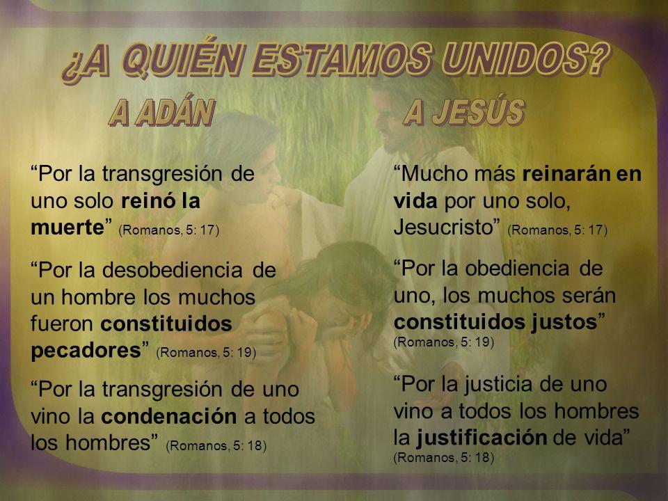 Por la desobediencia de un hombre los muchos fueron constituidos pecadores (Romanos, 5: 19) Por la obediencia de uno, los muchos serán constituidos ju