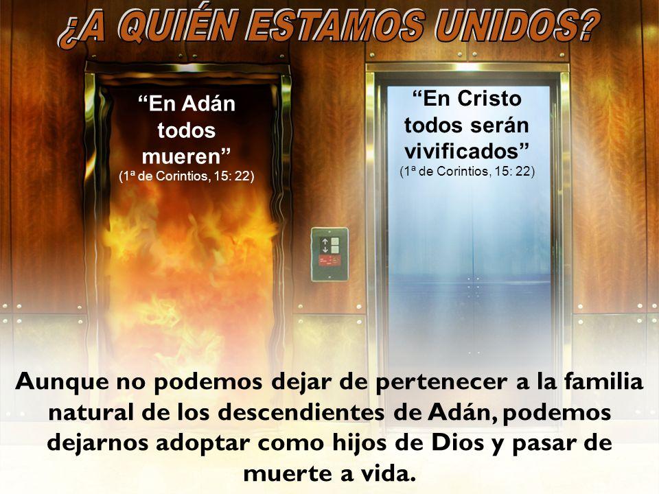En Adán todos mueren (1ª de Corintios, 15: 22) En Cristo todos serán vivificados (1ª de Corintios, 15: 22) Aunque no podemos dejar de pertenecer a la