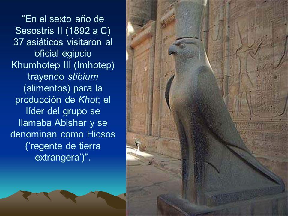 En el sexto año de Sesostris II (1892 a C) 37 asiáticos visitaron al oficial egipcio Khumhotep III (Imhotep) trayendo stibium (alimentos) para la prod