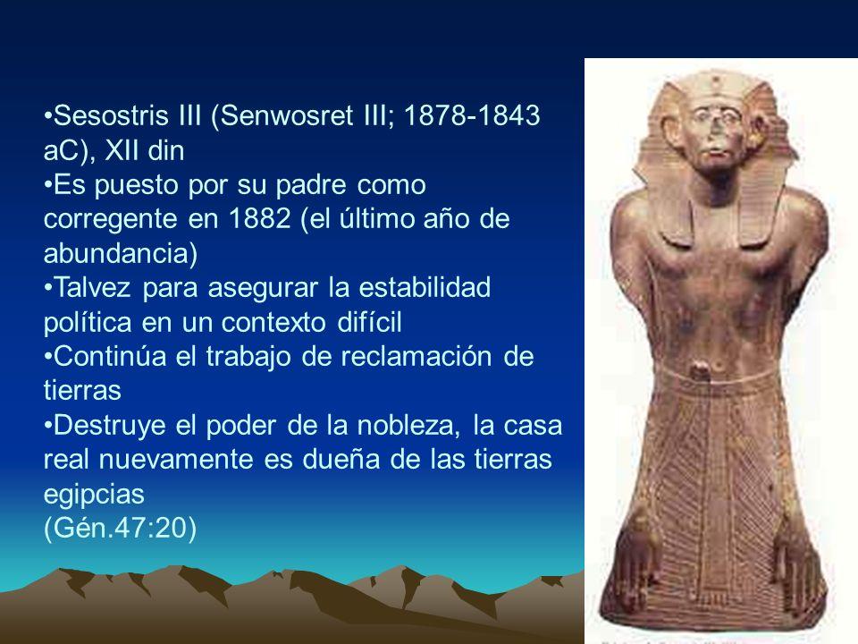 Sesostris III (Senwosret III; 1878-1843 aC), XII din Es puesto por su padre como corregente en 1882 (el último año de abundancia) Talvez para asegurar