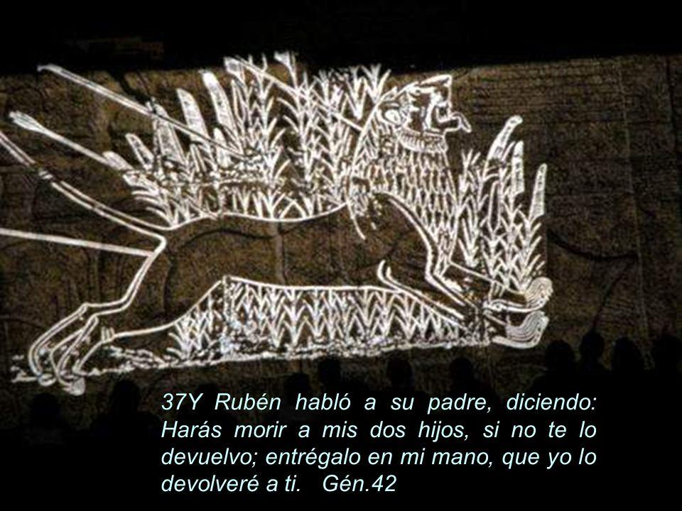 37Y Rubén habló a su padre, diciendo: Harás morir a mis dos hijos, si no te lo devuelvo; entrégalo en mi mano, que yo lo devolveré a ti. Gén.42