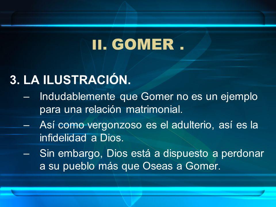 II. GOMER. 3. LA ILUSTRACIÓN. –Indudablemente que Gomer no es un ejemplo para una relación matrimonial. –Así como vergonzoso es el adulterio, así es l